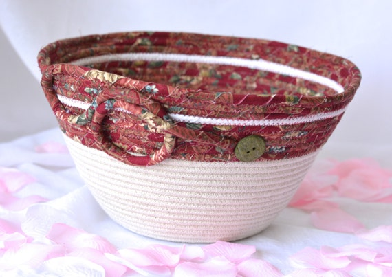Red Rope Basket, Handmade Maroon Mail Holder Bowl, Coiled Fabric Basket with handles, Primitive Organizer, Remote Control Bin