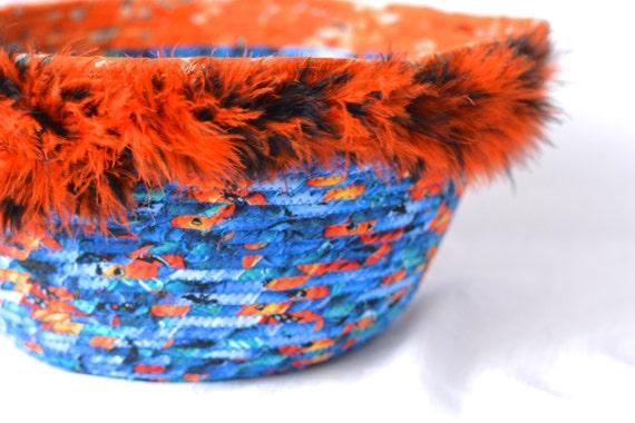 Halloween Basket, Sale. Handmade Blue and Orange Bowl, Toy Organizer Bucket, Storage Basket, Bin, Fun Stuffed Animal Container