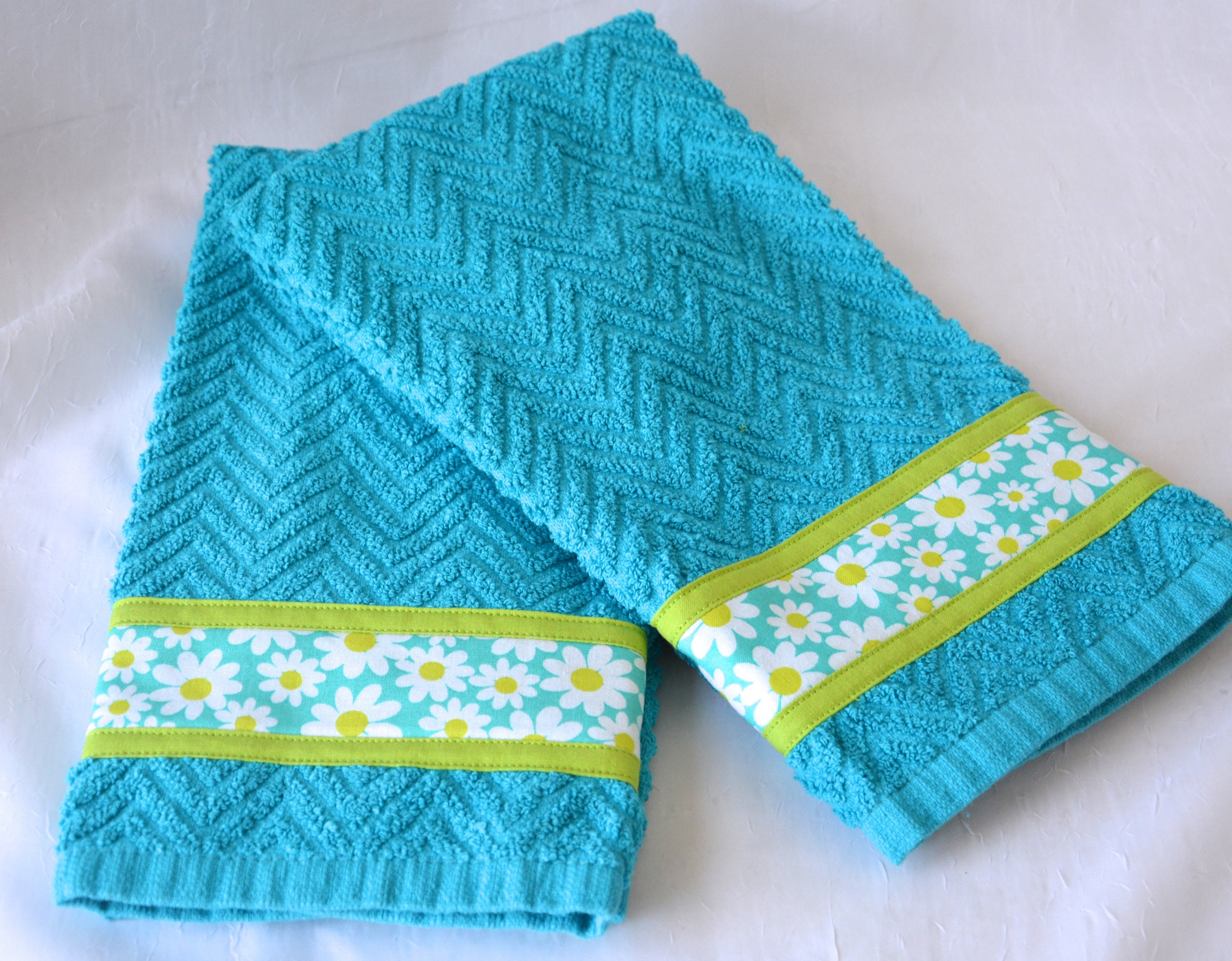 Blue Cottage Towels, 2 Hand Decorated Kitchen Towels, Set of Two