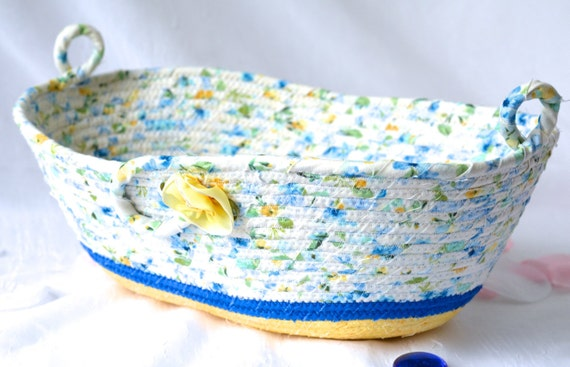 Blue Fabric Basket, Remote Control Caddy, Lovely Floral Quilted Bowl, Handmade Lotion Holder, Hand Coiled Rope Basket, Modern Floral Basket