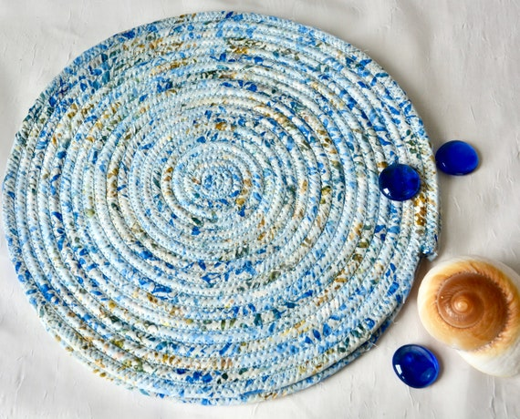 "Boho Batik Mat, 2 Blue Place Mats, Handmade Potholders, 11"" Hot Pads, Fabric Table Trivets, Kitchen Home Decor, Table Topper Runner"