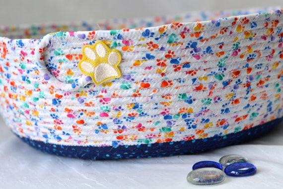 Round Toy Basket, Blue Storage Organizer, Handmade Yarn Holder, Stuffed Animal Bin, Quilted Fabric Basket, Dog Toy Bowl, Recycle Bin