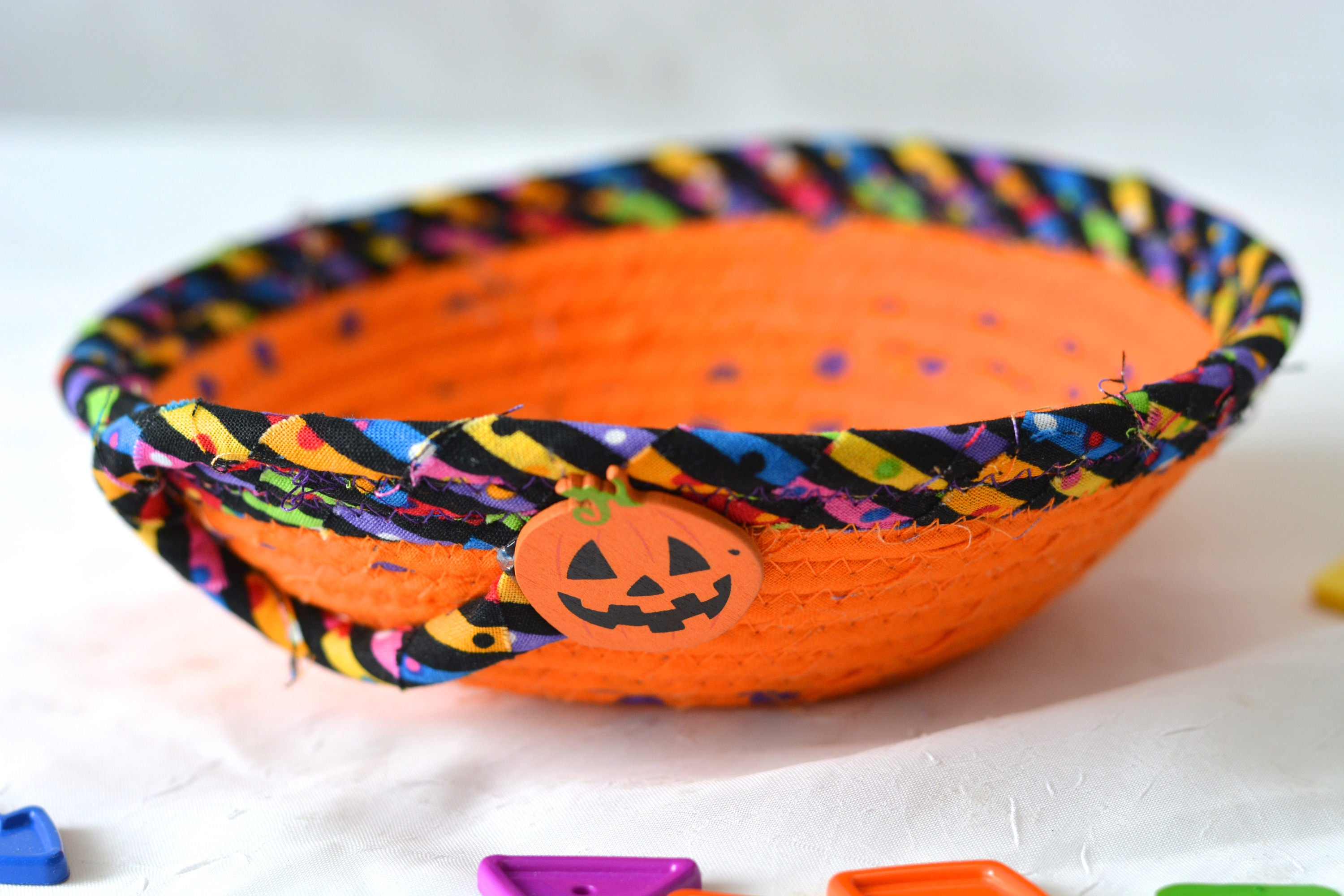halloween candy bowl, orange fabric basket, fall desk accessory