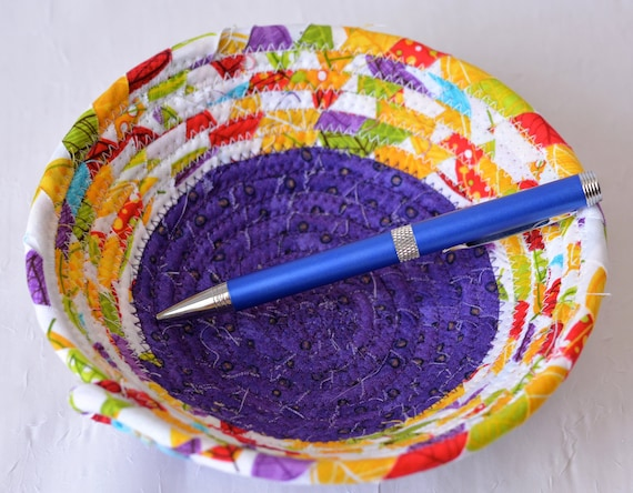 Bling Ring Dish, Quilted Rope Basket, Handmade Purple Bowl, Candy Dish, Planter Plant Holder, Cute Desk Accessory Bowl