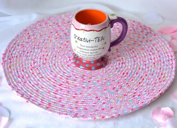 """Pink Table Topper, Place Mat, 16"""" Handmade Hot Pad, Spring Table Mat, Cute Potholder, Quilted Fabric Table Topper, Candy Land Pink Trivet"""