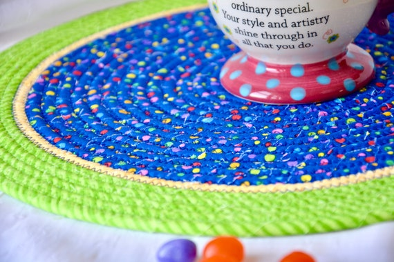 Child Place Mat, Fun Fabric Trivet, Handmade Hot Pad, Mug Rug, Blue and Green Home Decor, Table Mat, Potholder, Table Topper, Runner