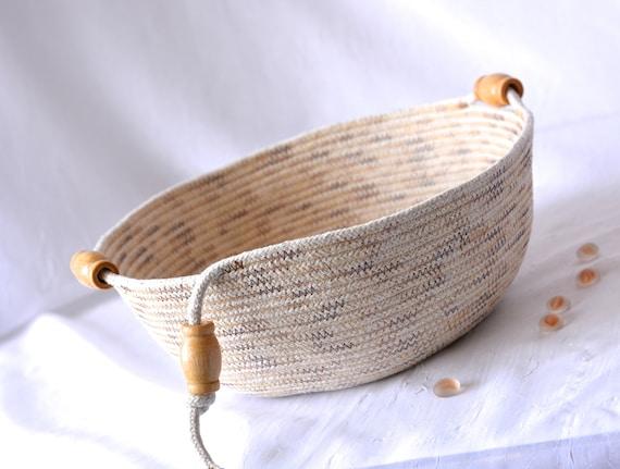 Primitive Rope Basket, Handmade Clothesline Quilted Bowl, Brush Holder, Minimalist Coiled Basket, Rustic Natural Raw Rope Decor