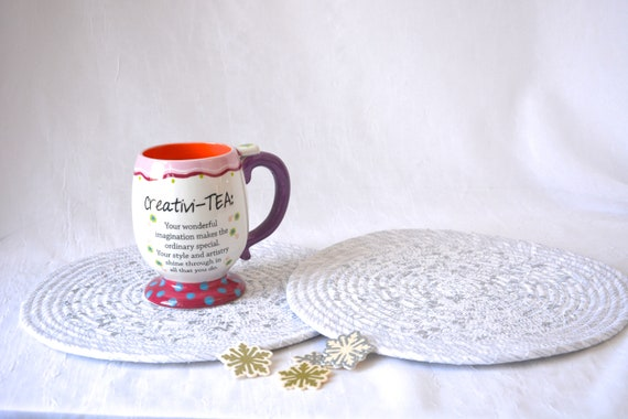Snowflake Table Decor, Winter White Trivet Set, 2 Handmade Coiled Hot Pads, Place Mats, Silver Potholders, White Decoration