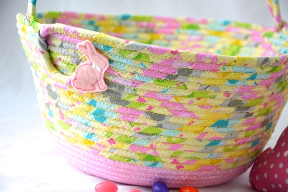 Pink Nursery Basket, Flower Girl Basket, Handmade Wedding Basket, Baby Girl Home Decor, Diaper Holder, Lotion Bin, Easter Bucket