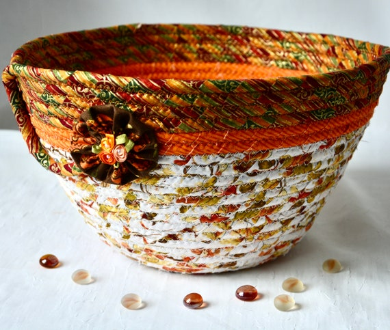 Thanksgiving Napkin Basket, Fall Foliage Home Decor Bowl, Festive Gift Basket, Handmade Bread Basket, Mail Holder, Autumn Fruit Bowl