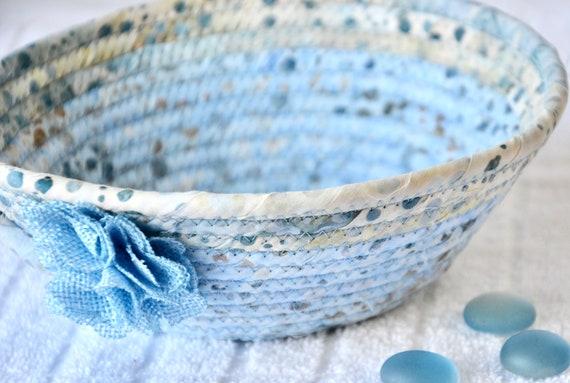 Batik Key Basket, Handmade Blue Ring Bowl, Candy Dish, Indigo Fabric Basket, Cottage Chic Decor Bowl, Coin Change Bowl