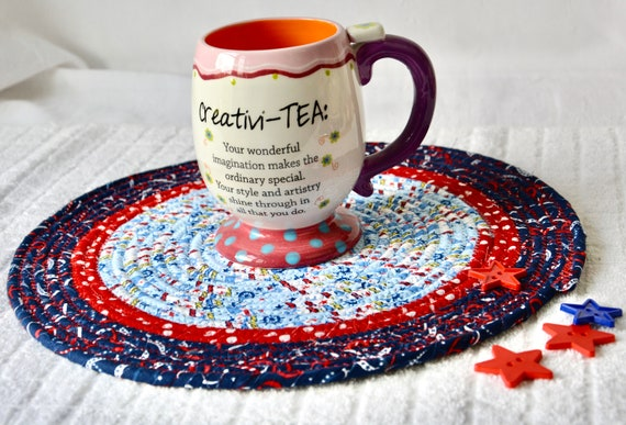 """Patriotic Place Mat 12"""", Labor Day Picnic Trivet, Handmade Red White and Blue Trivet, Quilted Hot pad, Potholder, Coiled Rope Mat"""