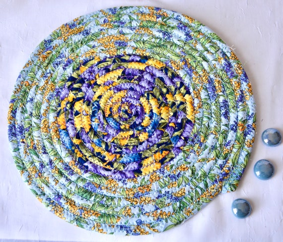 Summer Mug Rug, 1 Handmade Garden Party Trivet, Quilted Hot pad, Shabby Chic Table Topper,  Table Runner, Coiled Potholder