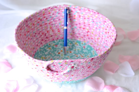 Cute Girl Basket, Home Decor Basket, Handmade Fabric Basket, Pink Wedding Basket, Pink Bathroom  Towel Holder, Rope Coiled Bowl
