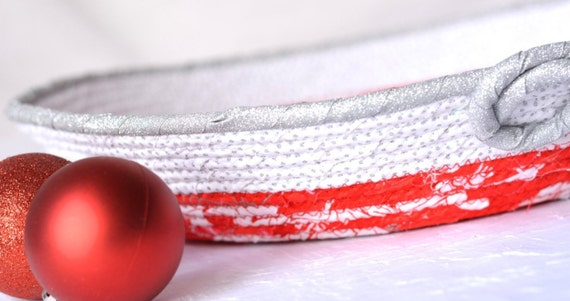 Red Christmas Decoration, Handmade Red Holiday Ornament Bowl, Silver and Red Gift Basket, Holiday Party Decoration,