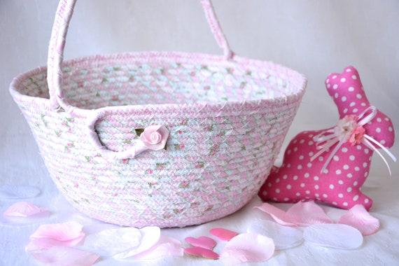 Rose Easter Basket, Pink Flower Girl Basket, Handmade Easter Bucket, Baby Girl Home Decor, Diaper Holder, Lotion Bin, Easter Decoration
