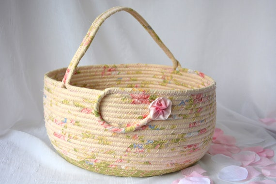 Picnic Bolga Basket, Pink Shabby Chic Basket, Handmade Textile Art Basket, Designer Rope Basket with handle, Pretty Fabric Bin