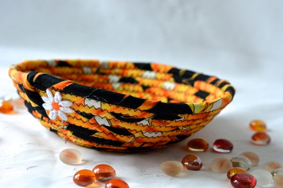 Halloween Candy Bowl, Fun Black Basket, Handmade Fun Orange Bowl, Cute Desk Accessory Bowl,  Halloween Fall Decoration