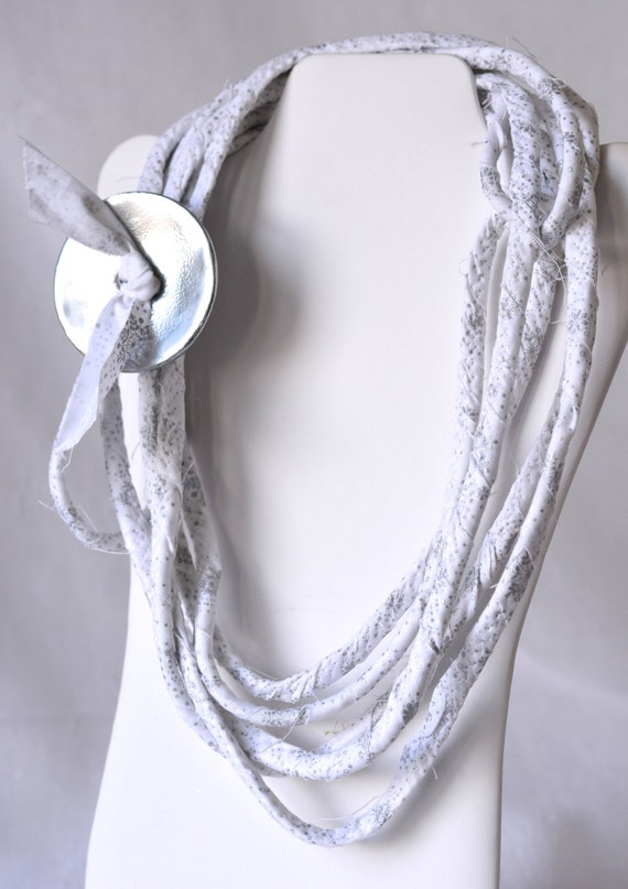 Silver Snowflake Necklace, New Year's Eve Jewelry, Winter White Accent Fiber Necklace, Infinity Wrap Necklace, Women Fabric Necklace