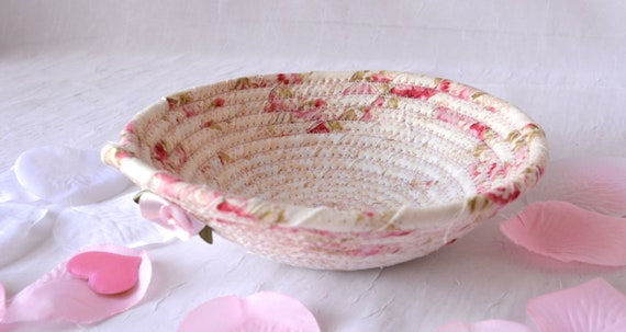 Mother's Day Gift, Shabby Chic Floral Basket, Handmade Pink Bowl, Ring Dish, Cute Desk Accessory, English Garden Gift Basket