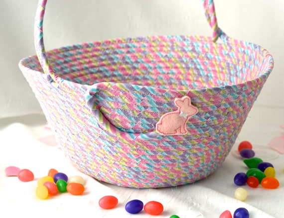 Fabric Easter Basket, Handmade Easter Bucket, Whimsical Bunny on Glitter Girl Easter Basket, Easter Decoration, Free Name Tag