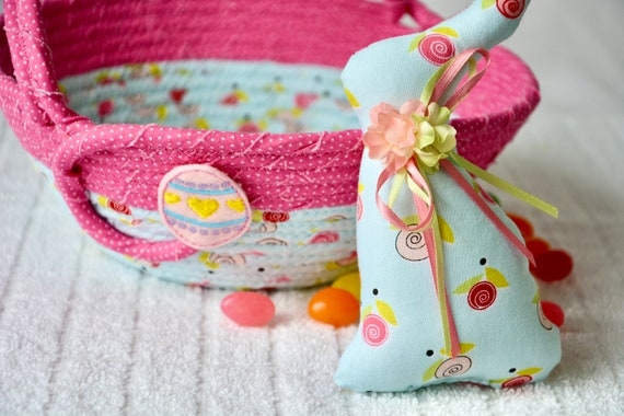 Baby Girl Easter Basket and Cute Matching Easter Bunny, Handmade Flower Girl Basket, Pink Easter Egg Hunt Bag, Jelly Bean Holder