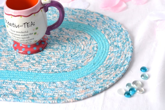 """Spring Table Mat, Handmade Aqua Blue Table Topper, 18""""L, Aqua Blue Trivet, Unique Table Runner, Coiled Table Topper, Quilted Hot Pad"""