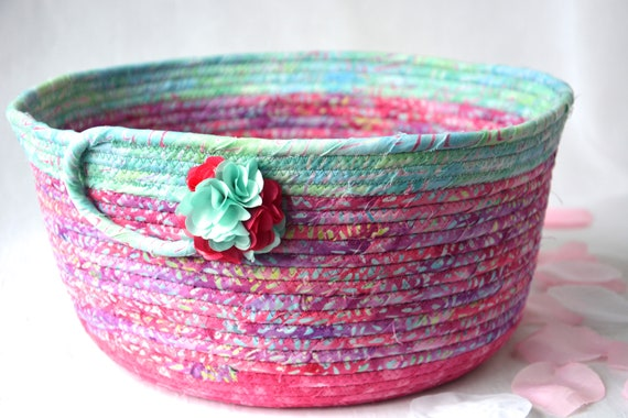 Pink Aqua Bowl, Handmade Batik Fabric Basket, Decorative Coiled Basket, Magenta Gift Basket, Batik Catchall, Yarn Bowl, Napkin Holder