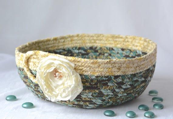 Golden Teal Basket, Handmade Designer Bowl, Lovely Home Decor Basket, Fruit Bowl, Brush Holder, Coiled Rope Basket, Bathroom Decor