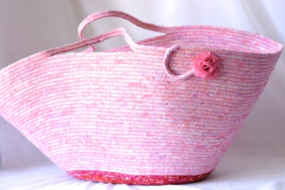 Pink Batik Basket, Handmade Beach Bag, Tote Bag, Laptop Case, Unique Gift Basket, Baby Girl Nursery Hamper, Moses Basket