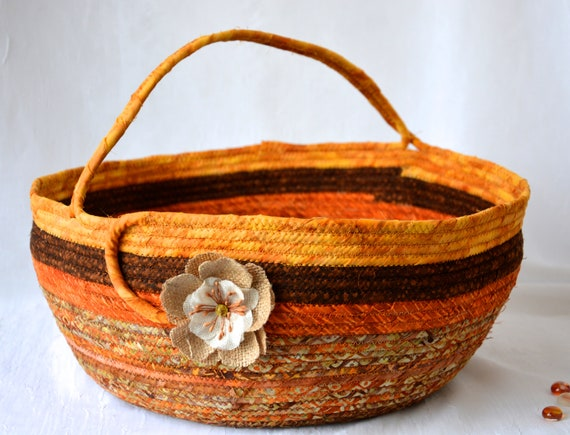 Harvest Batik Basket, Gorgeous Fall Batik Basket, Handmade Textile Art Basket, Coiled Rope Basket with handle, Country Chic Fabric Basket