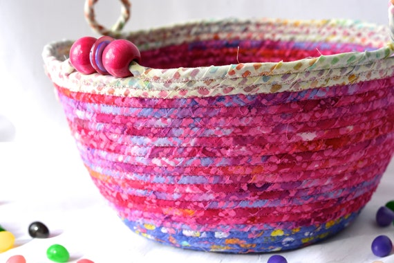 Pink Fairy Basket, Handmade Batik Bowl, Baby Girl Nursery Basket, Pixie Dust Basket, Hair Band Holder, Doll Bin, Coiled Rope Basket