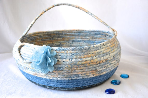 Blue Decor Basket, Handmade Textile Art Basket, Indigo Coiled Rope Basket with handle, Bolga Fabric Bin, Blanket Basket, Yarn Holder