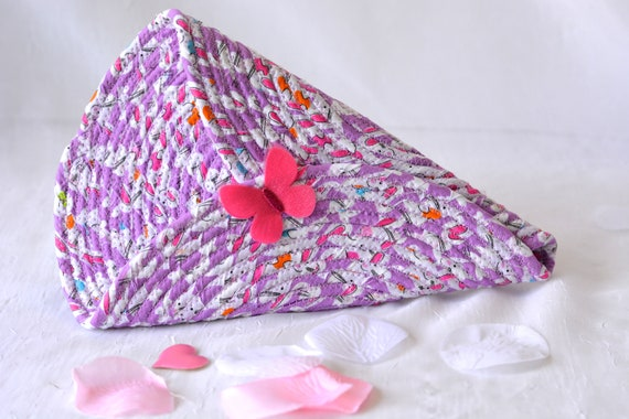 Summer Door Hanger, Lovely Pink Wall Art, Artisan Quilted Wall Vase, Handmade Violet Home Decor, Modern