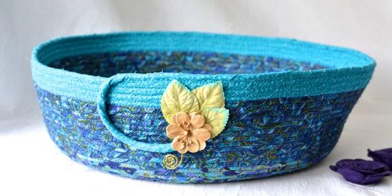 Blue Fabric Basket, Handmade Cat Bed, Quilted Coiled Basket, Decorative Book Basket, Yarn Holder, Magazine or Shoe Rack