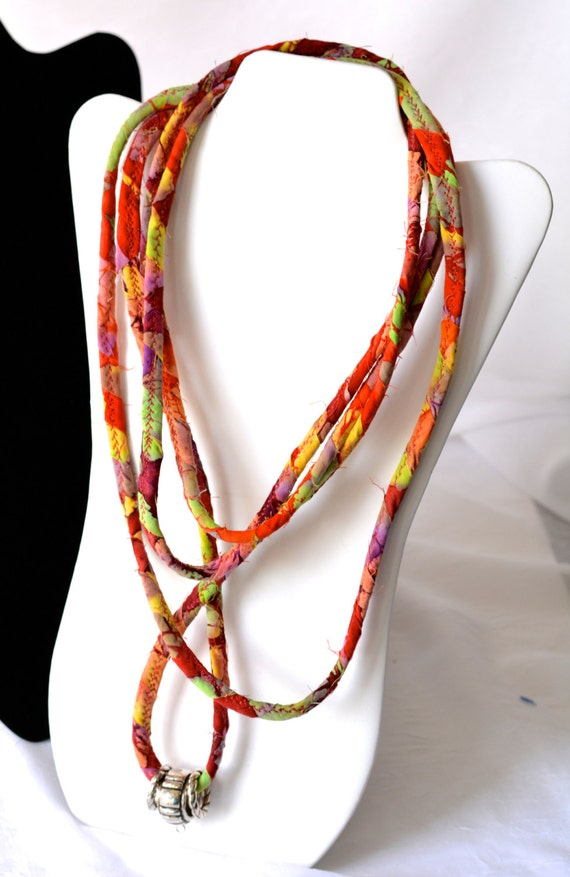 Rustic Boho Necklace, Unique Red Infinity Necklace, R100, Handmade Cotton Scarf, Bohemian Red Necklace, Fun Wrap Jewelry