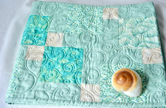 Green Table Topper, Quilted Bed Runner, Handmade Pastel Dining Table Decor, Artisan Quilted Kitchen Table Runner