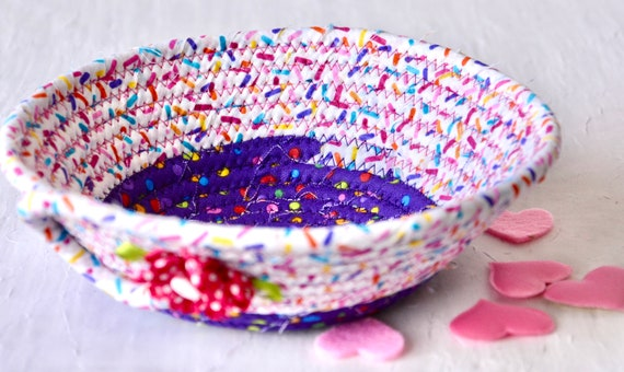 Pink Party Favor, Handmade Sprinkles Basket, Jimmies Bowl, Fun Pool Party Decor, Picnic Basket, Rainbow Ring Dish, Cute Potpourri Dish