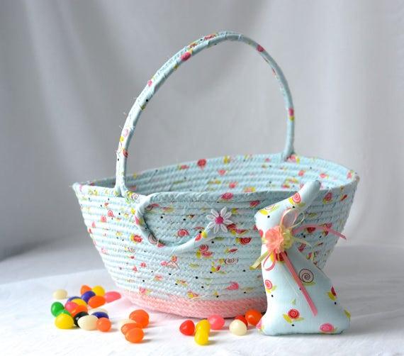 Girl Easter Basket and 1 cute matching bunny, Artisan Quilted Basket, Baby First Easter Bucket, Wedding Card Holder, Flower Girl Basket,