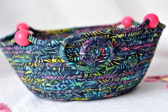 Indigo Batik Basket, Handmade Blue Coiled Bowl, Bohemian Batik Basket, Boho Chic Fabric Bowl, Napkin Basket, Mail Bin, Textile Art Basket