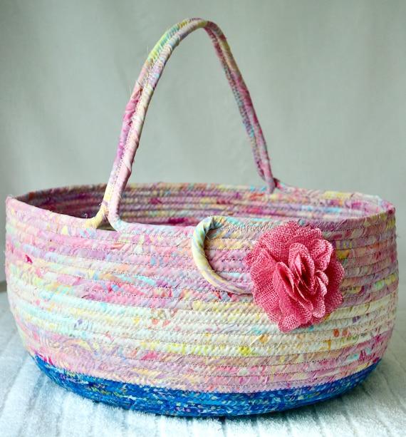 Beautiful Bolga Basket, Batik Fabric Storage Container, Handmade Textile Art Basket, Designer Rope Basket with handle, Pink Yarn Holder