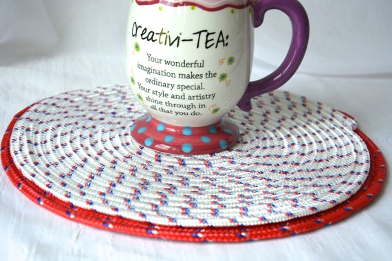 Picnic Table Decoration, 2 Red White and Blue Trivets, Tailgate Party Decor, Place Mats, Handmade Table Toppers,Runner, Hot pad