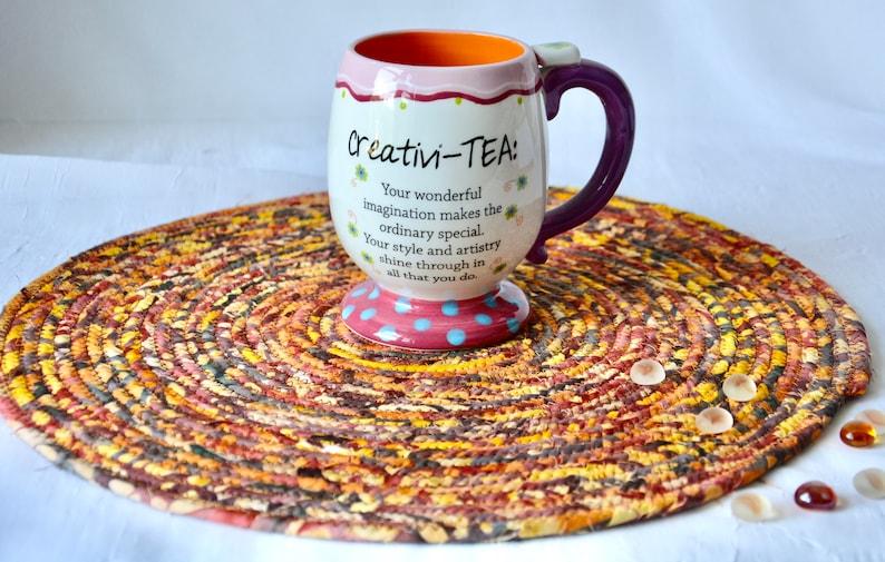 Batik Fabric Trivet 1 Fall Tan Place Mat Handmade Hot Pad image 0