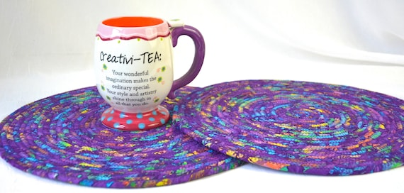 Boho Place Mats, 2 Handmade Fabric Potholders, 2 Violet Hot pads, Purple Table Toppers, Table Runner, Coiled Rope Mats
