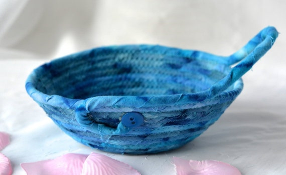 Father's Day Gift, Indigo Key Basket, Blue Bowl, Handmade Potpourri Bowl, Batik Quilted Basket, Boho Chic Fabric Basket, Coin Change Bowl