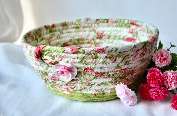 Shabby Chic Basket, Rose Floral Decoration, Pretty Fabric Basket, Handmade Quilted Basket, Pink Napkin Holder, Fruit Bowl, Remote Holder