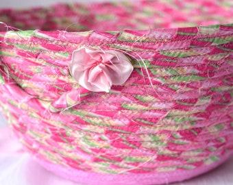 Pink Easter Basket, Handmade Fabric Bowl, Pretty Sateen Easter Bucket, Quilted Basket, Easter Egg Hunt Bag, Lovely Bath Soap Holder