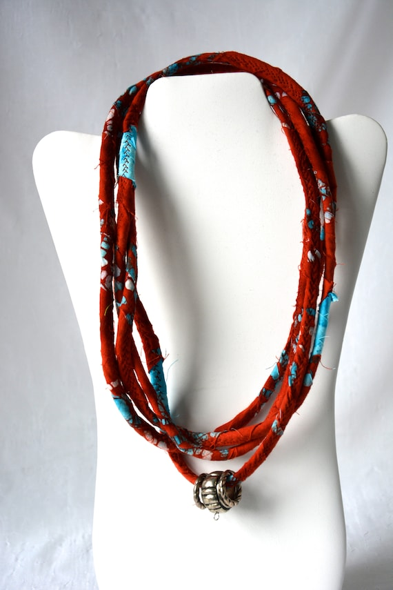 Fall Statement Necklace, Infinity Red and Turquoise Rope Necklace, Handmade Boho Fabric Scarf, Modern Women Fashion Jewelry