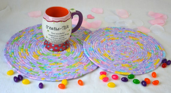 Easter Place Mats, 2 Lovely Spring Trivets, Lavender Quilted Hot Pads, Violet Mug Rugs, Potholders, Modern Table Toppers, Table Runner