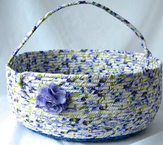 Bolga Style Basket, Storage Container, Handmade Textile Art Basket, Designer Rope Basket with handle, Shabby Chic Fabric Bin, Garden Party
